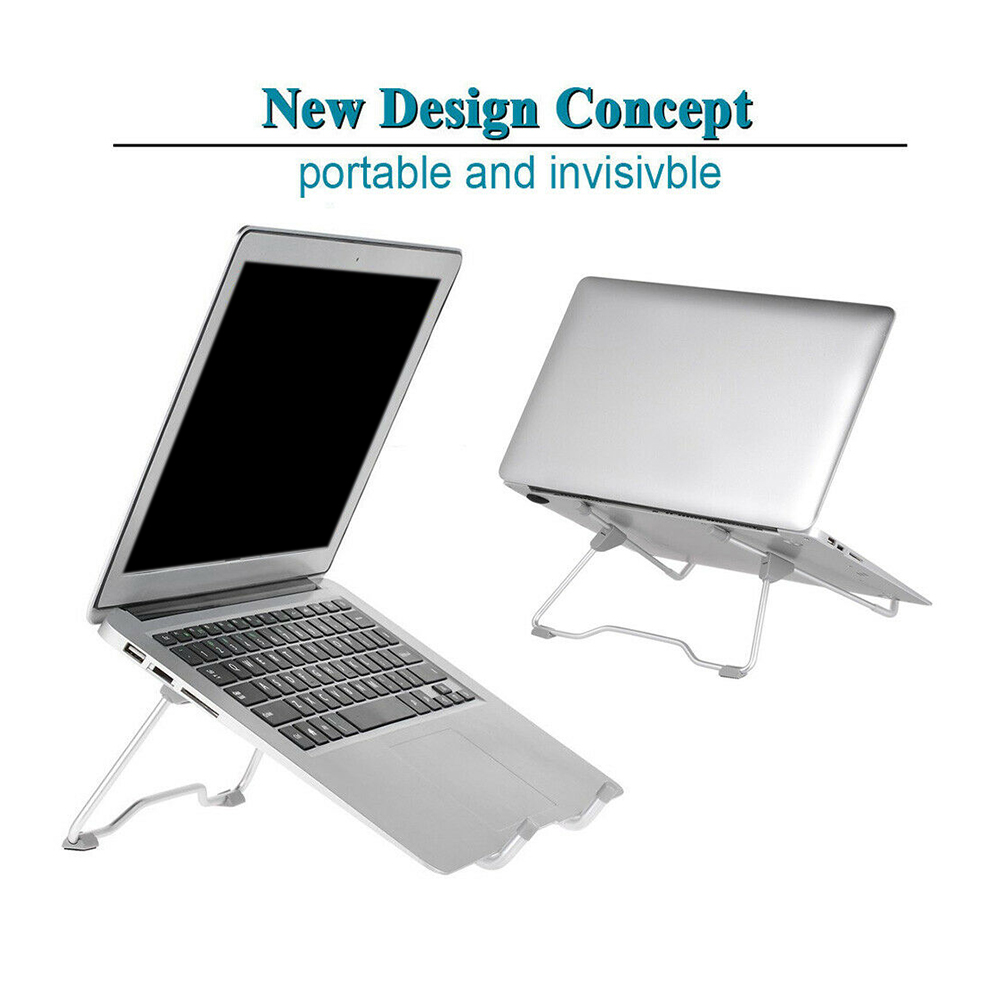 Universal Foldable Aluminum Laptop Stand Folding Adjustable Holder Rack For Notebook Tablet Invisible Cooling Bracket