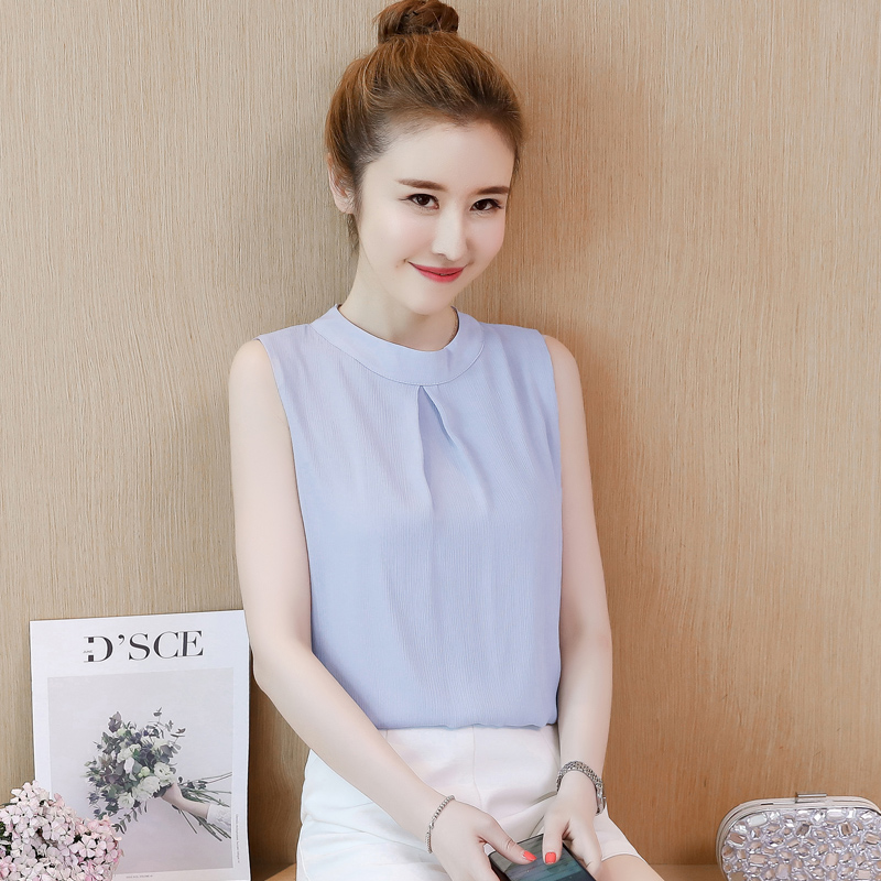Korean Chiffon Blouses Women Sleeveless Shirt Plus Size Tops Blusas Mujer De Moda 2020 Woman Solid Blouse Top Summer Women Tops