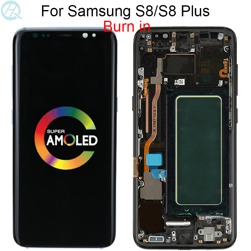 Original For Samsung Galaxy S8 LCD With Frame Super Amoled G950F G950U Touch Screen S8 Plus G955F G955U Touch Screen Assembly