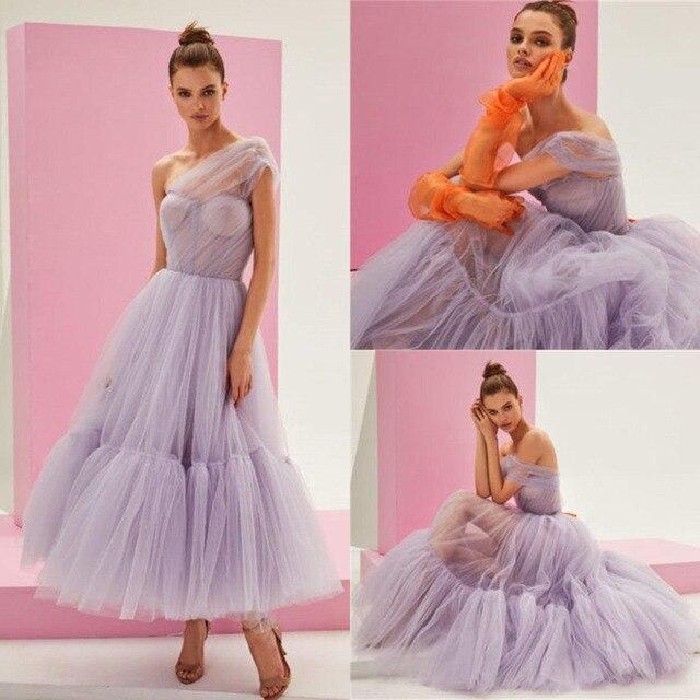 SoDigne Tulle Ankle Length Prom Dress Elegant One Shoulder Princess Evening Gowns Party Celebrity Dress Custom Made 3