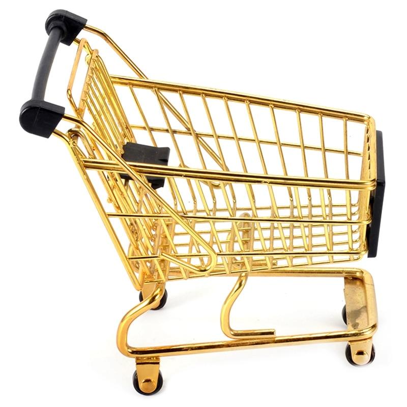 Creative Mini Shopping Cart Storage Box Small Object Storage Basket Wrought Iron Metal Supermarket Trolley Storage Basket