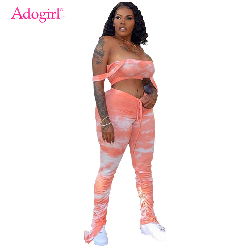 Adogirl Tie Dye Print Women Casual Two Piece Set Strapless Crop Top Drawstring Ruched Flare Pants Fashion Sexy Suit Tracksuit