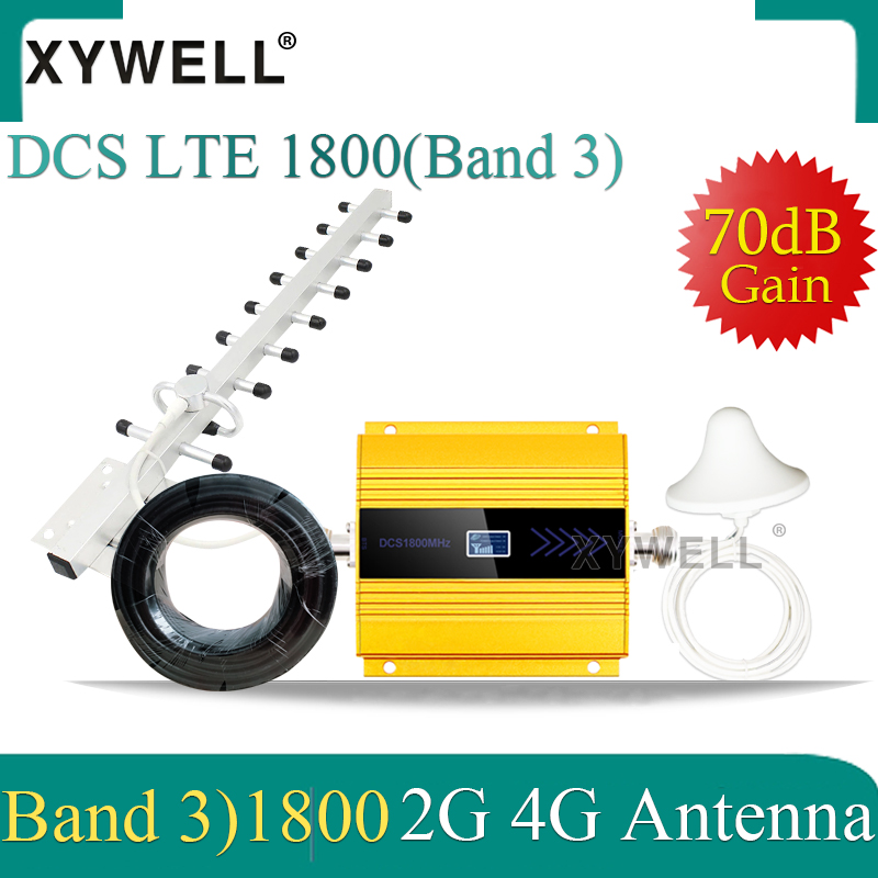 1800 Gsm Repeater 2G 4G LTE 1800MHZ 4G Cellular Amplifier DCS 1800Mhz 2G 4g Network Cellphone Signal Booster + Yagi Antenna