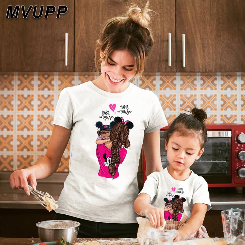 Mama Baby Mouse Cartoon Family T Shirt For Mother Daughter Clothes For Mommy And Me Outfits Mum Baby Girl Big Little Sisters