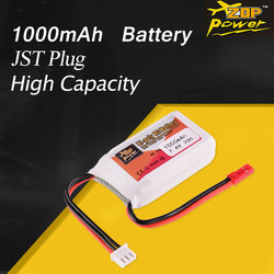 ZOP Power 7.4V 1000mAh 20C 2S Lipo Battery JST Plug Rechargeable battery For RC FPV Racing Drone Helicopter Car Boat Model