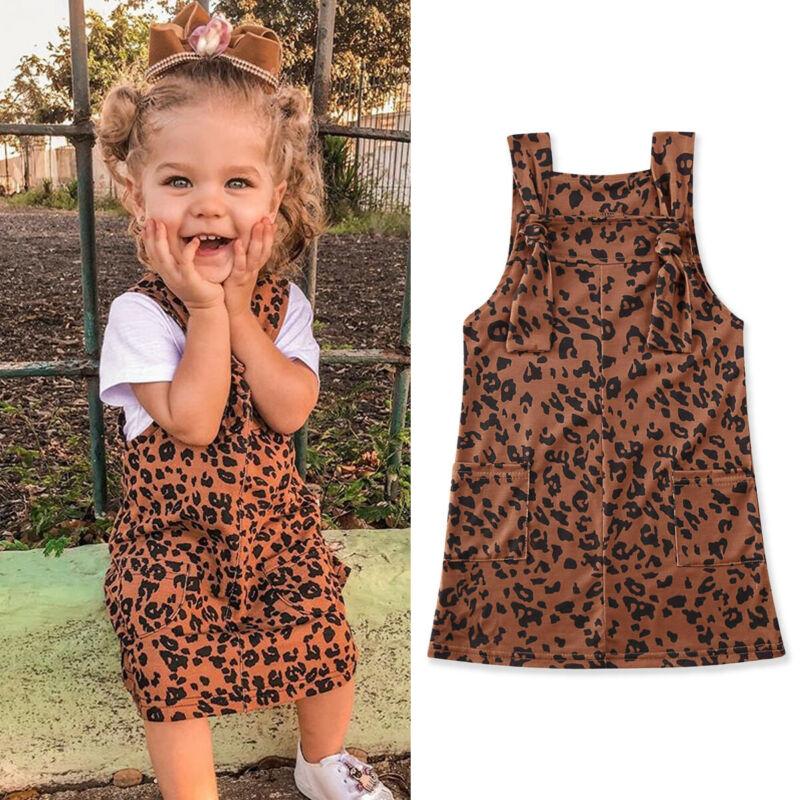 1-6Y Toddler Baby Kid Girls Leopard Dress Sleeveless Casual Overalls Summer Children Girls Costumes