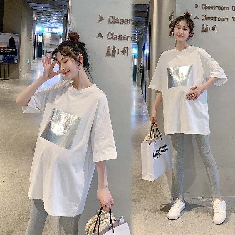 Summer Casual Cotton Maternity Tees Large Size Loose T Shirt Clothes for Pregnant Women Pregnancy Tops