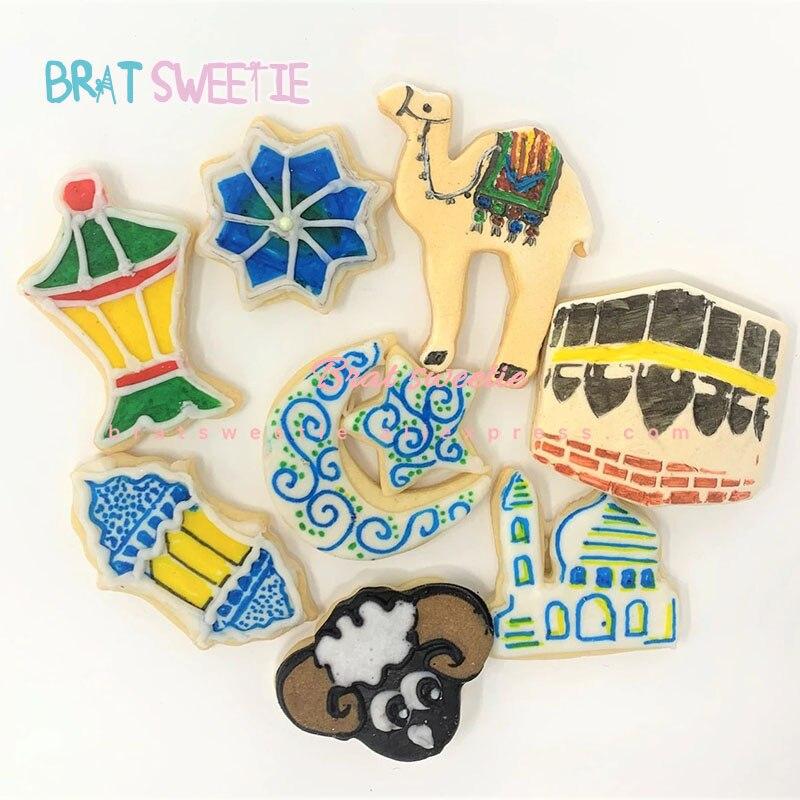 Cookie decoration kit  Mosque Islamic Star Moon Camel Star Lantern Ramadan Eid mubarak cookie cutter set decoration 19 pieces