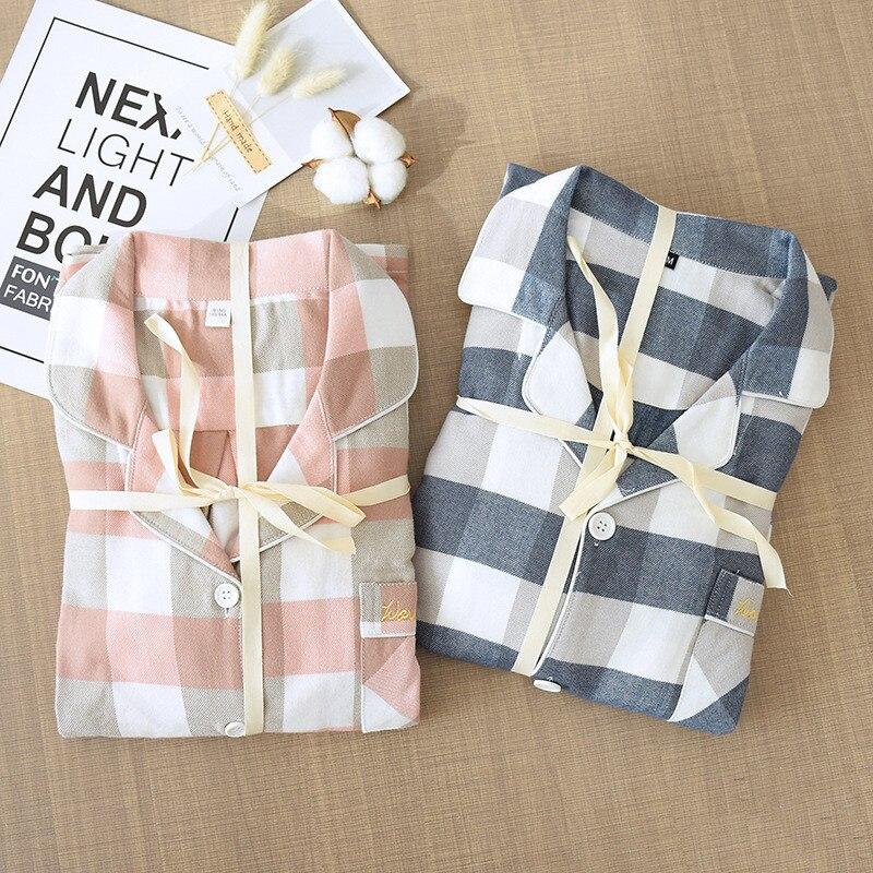 Fdfklak Spring New Pajama Set Plaid 100% Cotton Couple Sleepwear Turn-Down Collar Household Wear Casual Wear Home Clothes