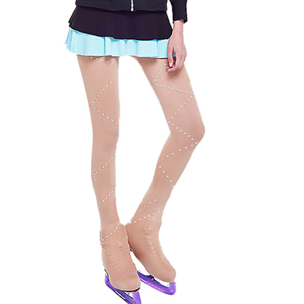 Girls Ice Skating Tights Leggings with Crystals Women Figure Skate Pants