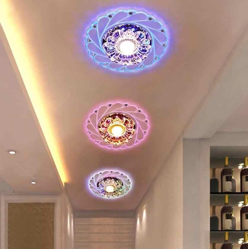 מודרני LED קריסטל תקרת אור עגול מיני תקרת מנורת Luminarias רוטונדה אור לסלון מעבר מסדרון מטבח