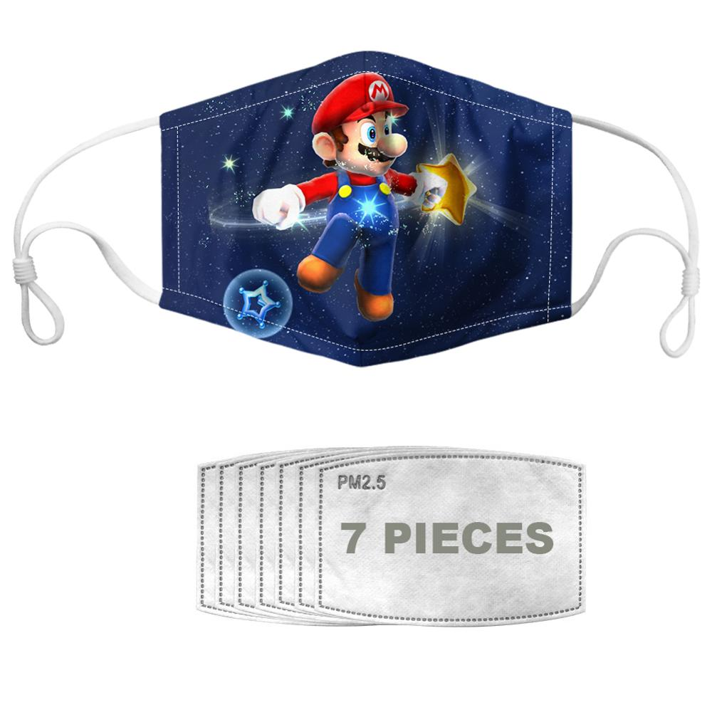 NOISYDESIGNS  Children Kids Cartoon Mouth Mask 3D Printed Breathable Mario Bros Anti-dust Fog Protective Washable Masque Maska