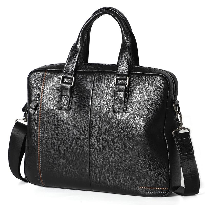 Genuine Leather Men's Briefcase Leather Men's Computer Bag Crossbody Shoulder Bag Large Capacity Tote Bag Laptop Bag