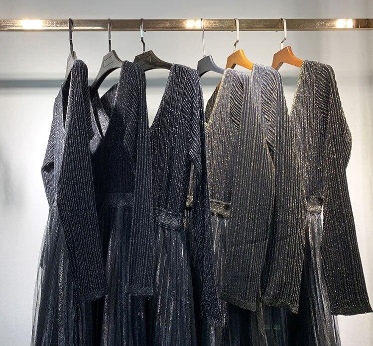 Femmes plissé tricoté robe Midi brillant or fil Style français dames col en v femme taille plissée maille robe 2020 début printemps