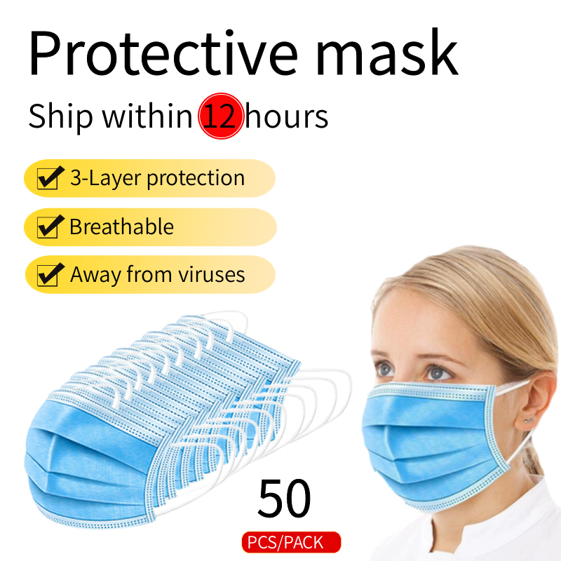 50 PCS Masks Disposable Mouth Mask 3 Layers Protective Dustproof Filter Koronavirus Masker Mulut Anti-virus Face Mask Series