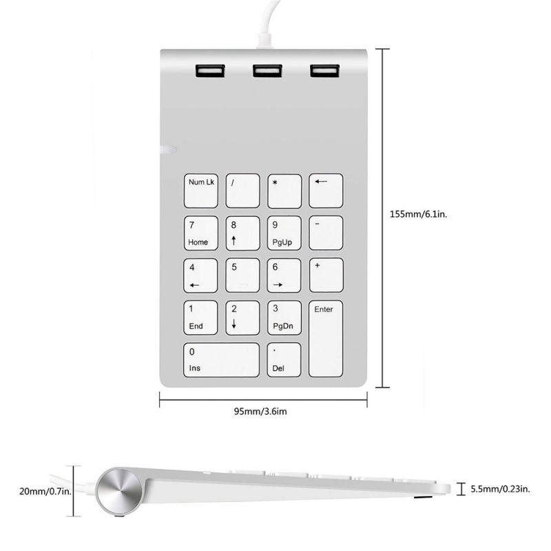 USB 2.0 Multifunctional Wired Financial Accounting Cashier Digital Keyboard For OSX 10.4 And Later, Windows XP, Vista, 7,8,10.