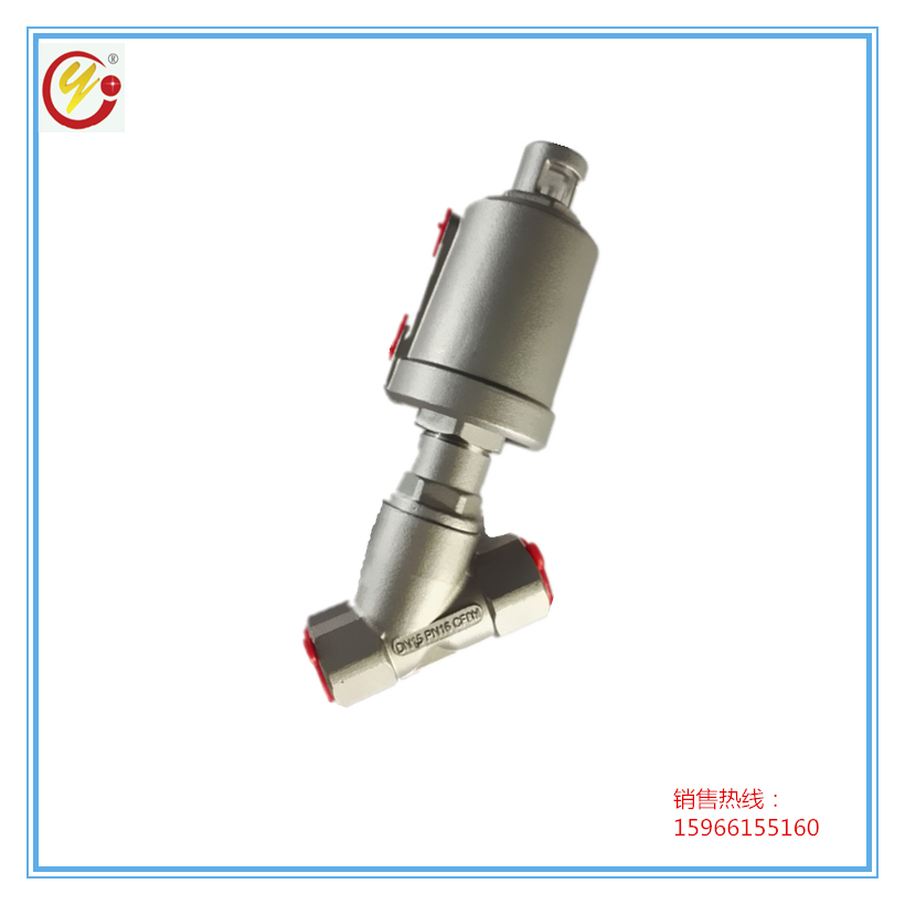 DN15 Stainless Steel Internal Thread Pneumatic Angle Seat Valve Y Type High Temperature Resistant Double Air Control Angle Seat