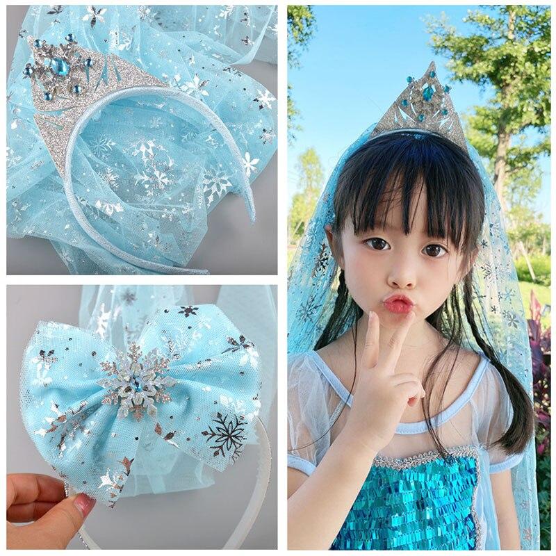 Повязка на голову с вуалью для девочек, повязка на голову с бантом, подарок на день рождения для детей, аксессуары для волос Аксессуары для волос для девочек      АлиЭкспресс