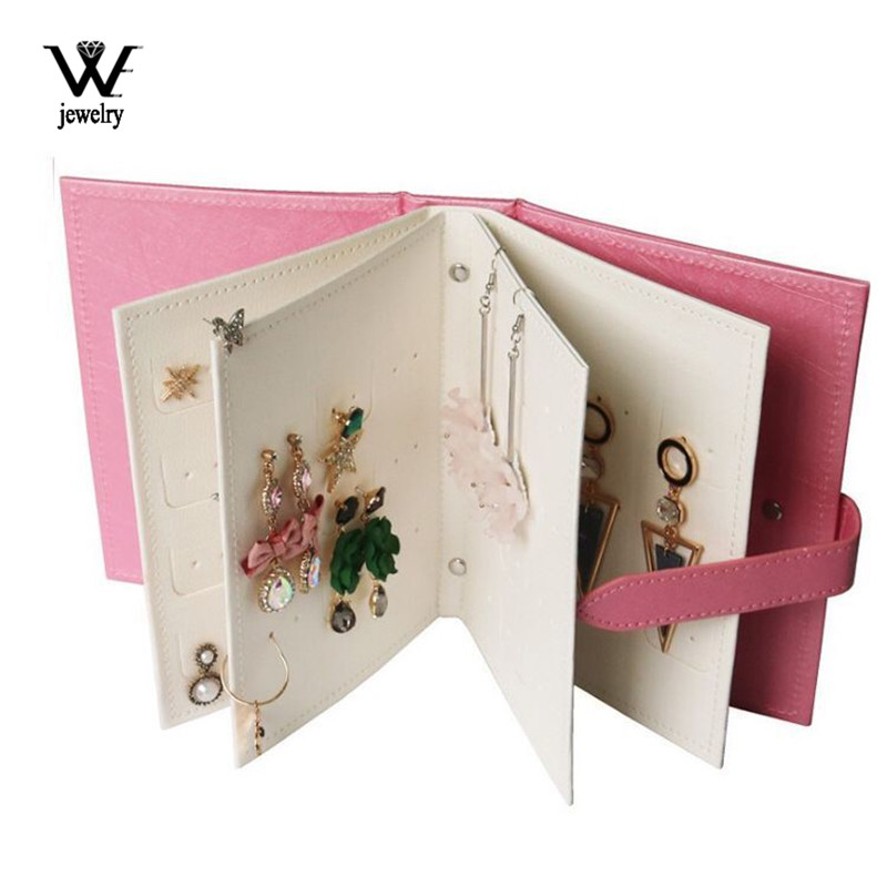 WE Hot Sale Fashion Women Stud Earrings Collection Book PU Leather Earring Storage Box Creative Jewelry Display Holder Organizer