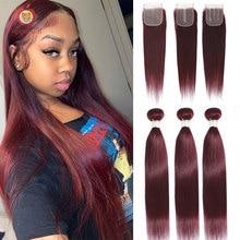 2/3/4-bundles Closure Human-Hair Applegirl Straight with Brazilian Weave Colored Applegirl/Straight/Remy-hair/..