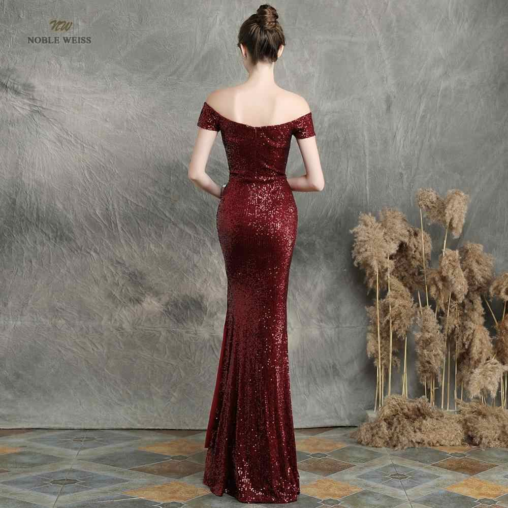 שמלות נשף 2019 שחור בת ים אלסטי מסיבת שמלה סקסי פיצול vestidos דה גאלה סירת צוואר ארוך נשף שמלה