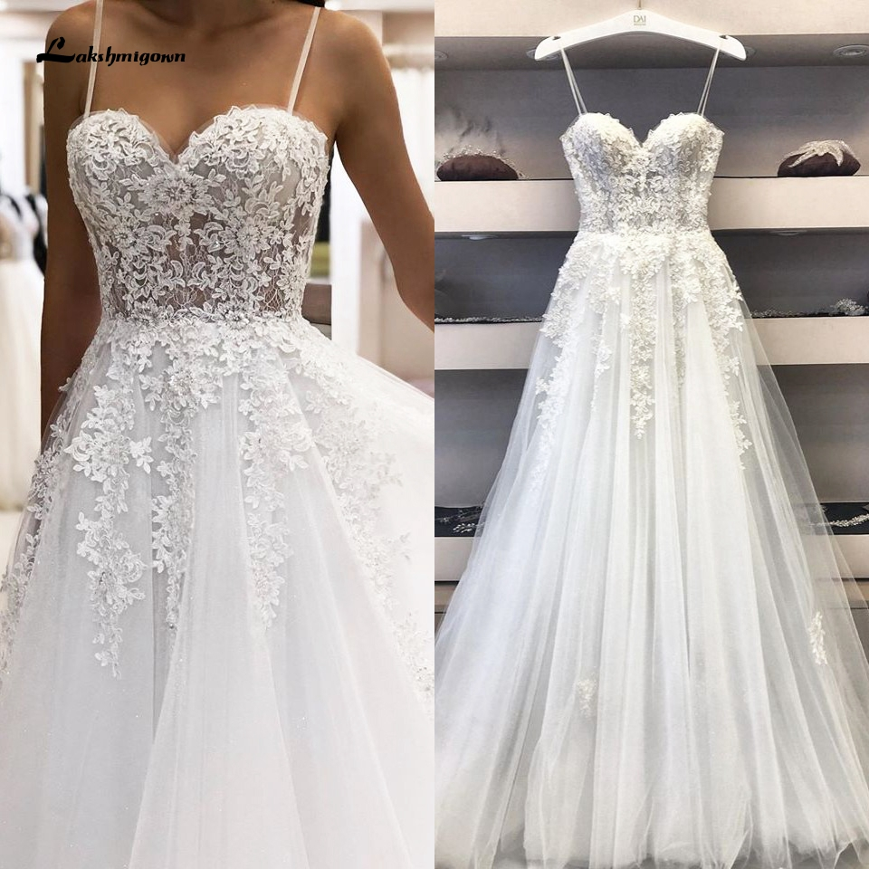 2020 Trouwjurk Sexy A Line Wedding Dress Spaghetti Straps Vintage Lace Applique Sweetheart White Tulle Mariage Long Bridal Dress