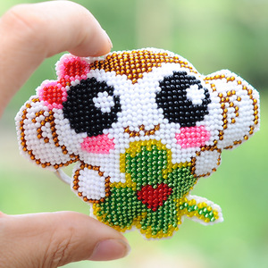 095 Phone Craft Stich Bead Cross Stitch Key Chain Accessories Stamped Needlework Embroidery Crafts Printed Cross-Stitching Kit(China)