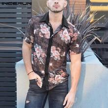 INCERUN Fashion Printed Men Shirt Streetwear Lapel Short Sleeve See Through Casual Blouse