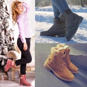 Image 4 - Fujin Vrouwen Winter Laarzen Platform Roze Vrouwen Laarzen Lace Up Casual Enkellaarsjes Laarsjes Ronde Vrouwen Schoenen Winter Sneeuw Laarzen enkel
