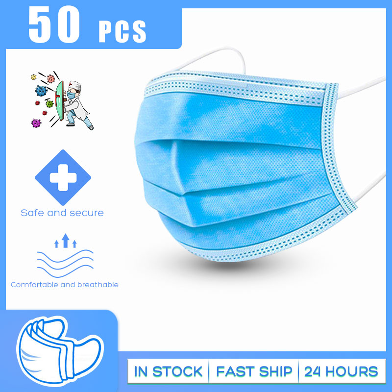 50PCS 3 Layer Protect Mask Face Mouth Mask Cover Meltblown Cloth Masks Non Woven Disposable Anti-Dust Earloops Safe Breathable