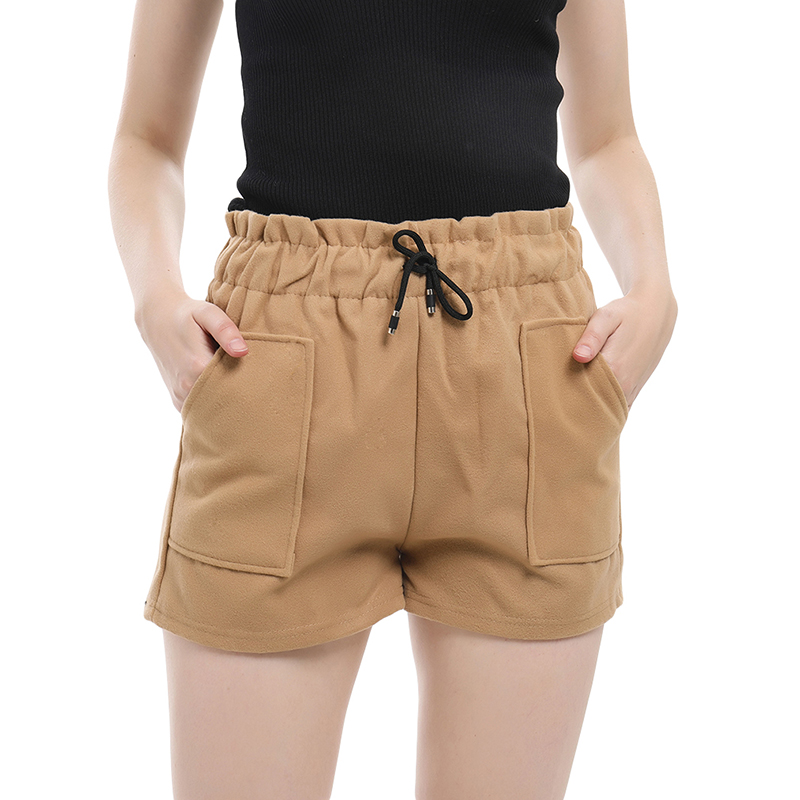Fashion Women Shorts Autumn Winter High Waist Shorts Solid Color Casual Thick Warm Elastic Waist Drawstring Shorts