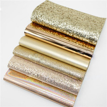 Golden Series 6pcs 20x22cm Synthetic Leather Fabric Material Shiny Glitter Fabric DIY Hair Bow Decoration Accessories Material 6pcs 20x22cm shinny glitter fabric diy sewing patchwork faux leather upholstery fabric hnadicarft diy bow accessories material