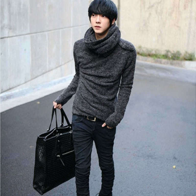 2020 New Fashion Korean Mens Autumn Loose Wool Thick Sweaters Classic Pullover Coats Black Turtleneck Sueter Hombre Free Ship