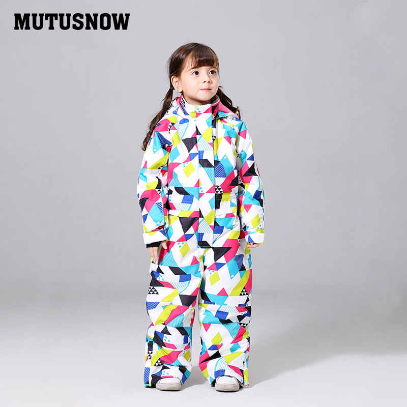 MUTUSNOW Ski Suit Girls New Waterproof Ski Snowboard Warm Thermal Thick Velvet Kids Hooded One-piece Little Children Ski Jacket