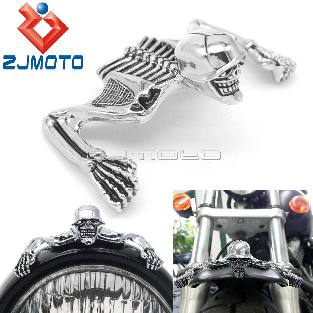 Steel Skeleton Decorative Figure For Harley Motorcycle 4.5 5.75 7 Headlight Visor Fender Custom Skeleton Skull Chrome Statue image