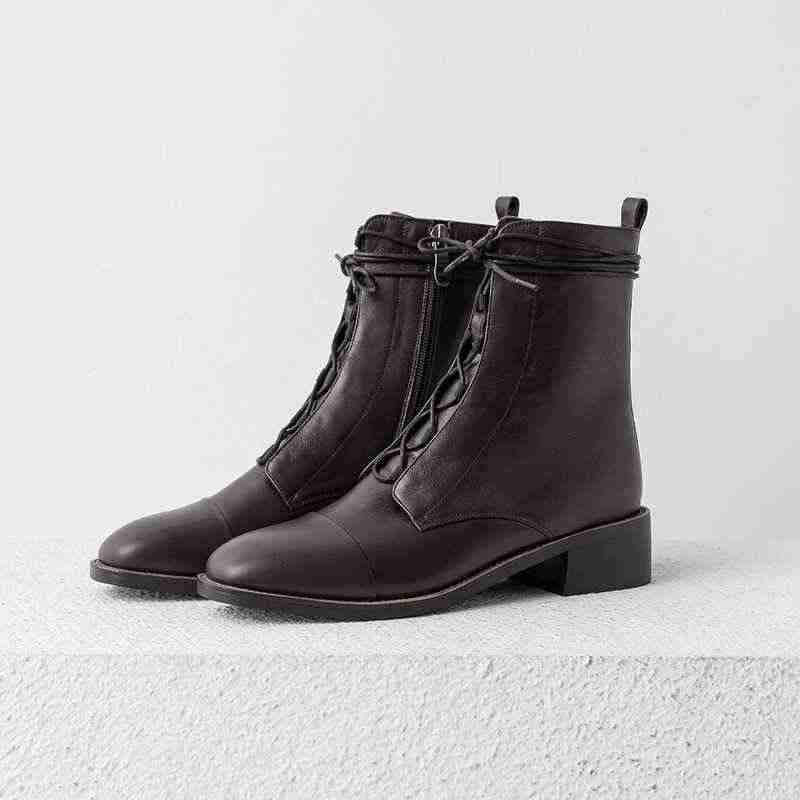 Lenkisen echtem leder vintage Britischen schule spitze up runde kappe med heels seite Zipper winter warme frauen neue stiefeletten l59
