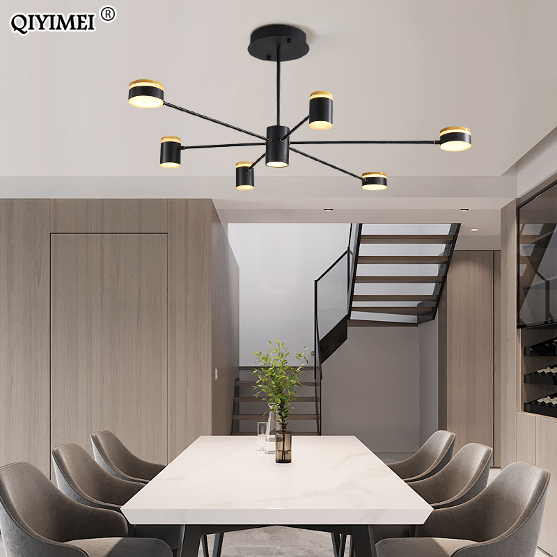 Modern Led Chandelier Lights Living Bedroom Dining Study Room Black Body Low Ceiling Lamp Height Adjustable Luminaria Home Deco Chandeliers Aliexpress