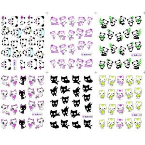 Image 5 - 11 Designs แพนด้าน่ารักรูปแบบสติกเกอร์เล็บสีดำแมว TATTOO Slider ตกแต่งเล็บเต็มรูปแบบเคล็ดลับ BEBLE1489 1499