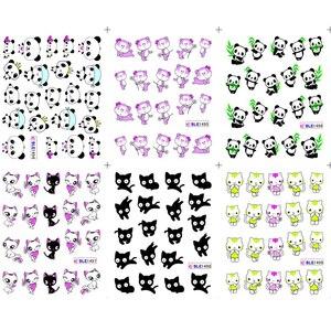 Image 5 - 11 tasarımlar sevimli Panda desen çıkartmalar çivi siyah kedi su dövme kaymak Nail Art dekorasyon tam Wrap İpuçları BEBLE1489 1499