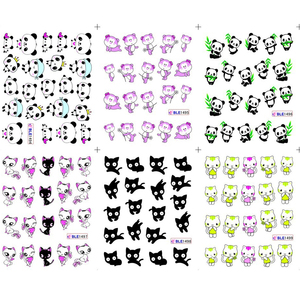 Image 5 - 11 تصاميم لطيف الباندا نمط ملصقات على الأظافر القط الأسود المياه الوشم المنزلق مسمار الفن الديكور التفاف كامل نصائح BEBLE1489 1499