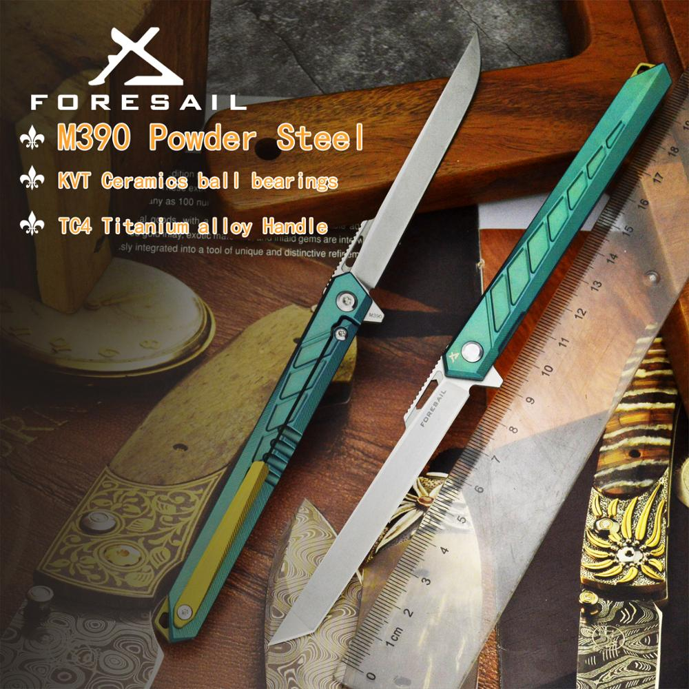 FORESAIL-M390 Stainless Steel Blade Folding Knife High Hardness Outdoor EDC ToolsTitanium Alloy Handle Tanto Point Pocket Knife