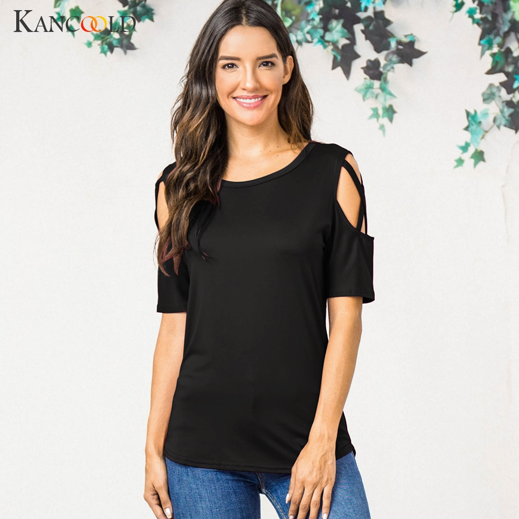 KANCOOLD Tops High Quality Summer Short Sleeve Strappy Cold Shoulder T-Shirt Tops Solid Summer Tops For Women 2018 Ap26