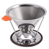 Stainless Steel Coffee Filter Basket Reusable Pour Over Coffee Filter Cone Coffee Dripper Paperless Outdoor portable Filters Coffee Filters     -