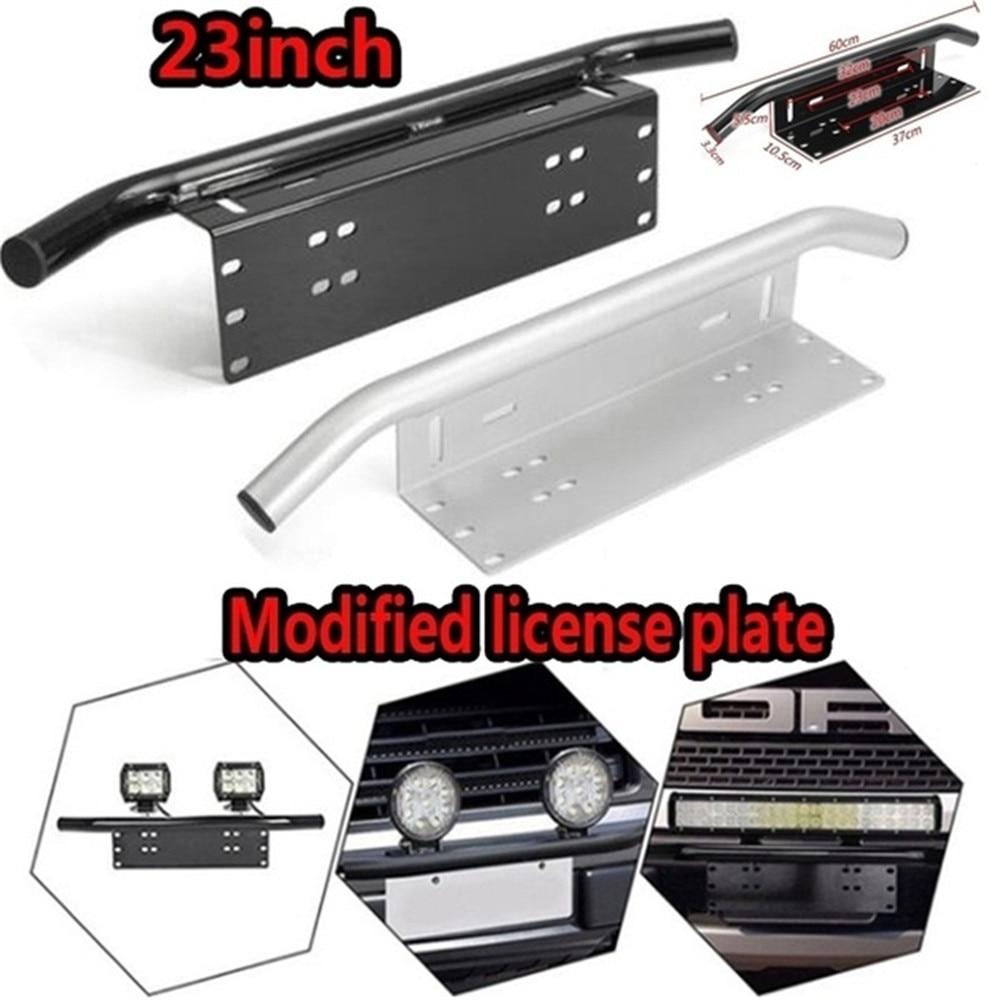 Car Front Bumper License Plate Mount Bracket Aluminium Bull Bar Style Holder For Driving Light Bar Car Universal Fits Most Cars