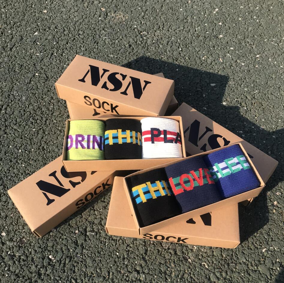 NEW Socks Men Stocks Couples Tide Socks Autumn New Letters Stocks Cotton Socks Hip Hop Street Sports 3 Pair/box