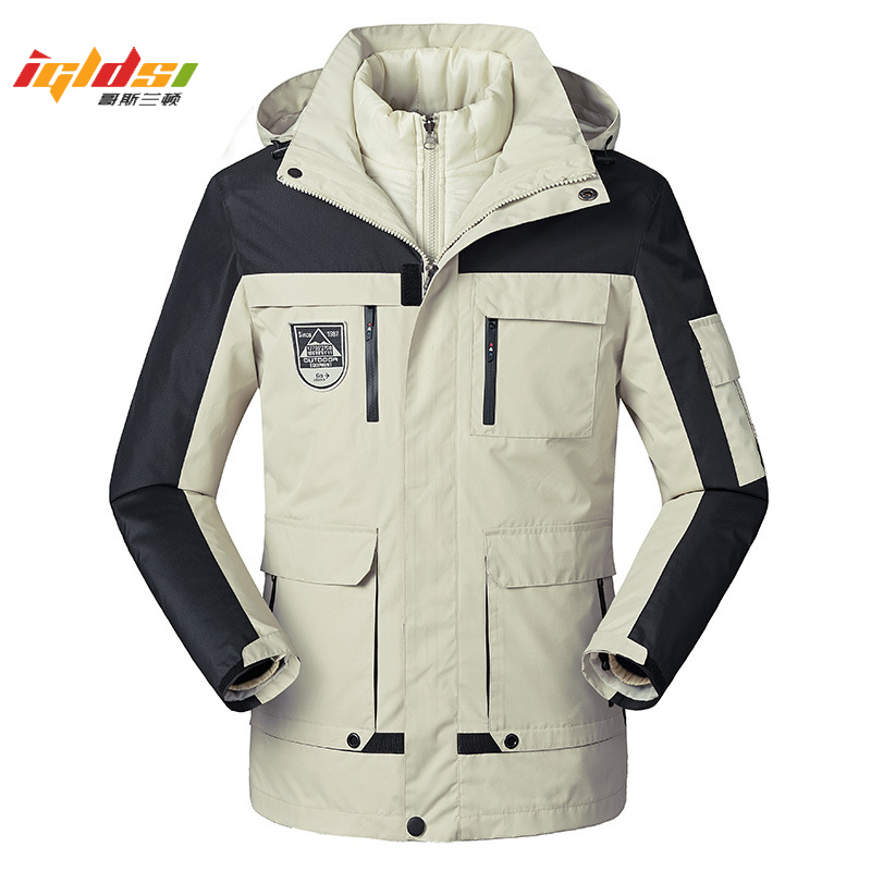 Men's Winter Down Jacket 2 In 1 Cotton Liner Outwear Thicken Warm Parka Coat Patchwork Waterproof Hood Men Jacket Plus Size 5XL