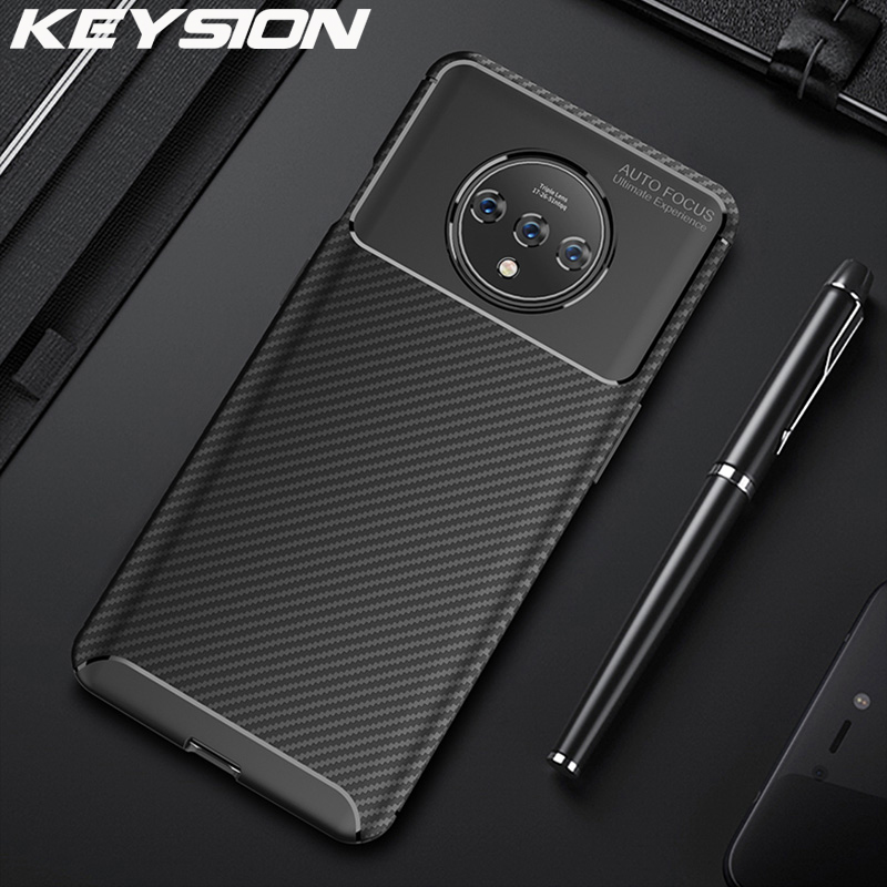 KEYSION Shockproof <font><b>Case</b></font> For <font><b>Oneplus</b></font> 7T 7T Pro Carbon Fiber Silicone 360 Full Protection Phone Cover for <font><b>Oneplus</b></font> 7 7 Pro 6 <font><b>6T</b></font> image