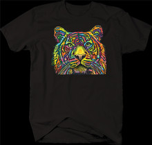 Néon multicolore coloré tête de tigre faune Nature grand chat pattes T-Shirt T-Shirt streetwear drôle(China)
