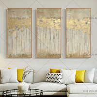 3 Panels Big size cheap Hand Painted Wall art Picture Abstract gold leaves landscape for Living room home decor no framed