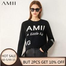 AMII Minimalism Otoño Invierno suéter de las mujeres casual cuello redondo carta suéteres sueltos para las mujeres suéteres Tops 12040440